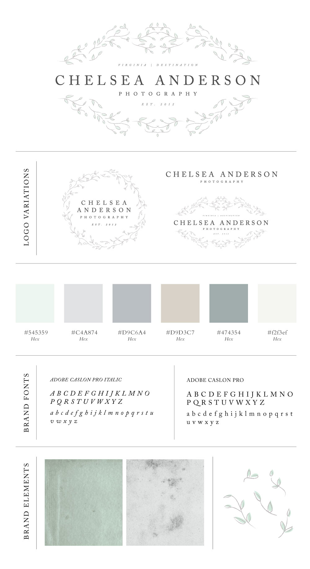 Classic brand design for photographer Chelsea Anderson by Davey & Krista