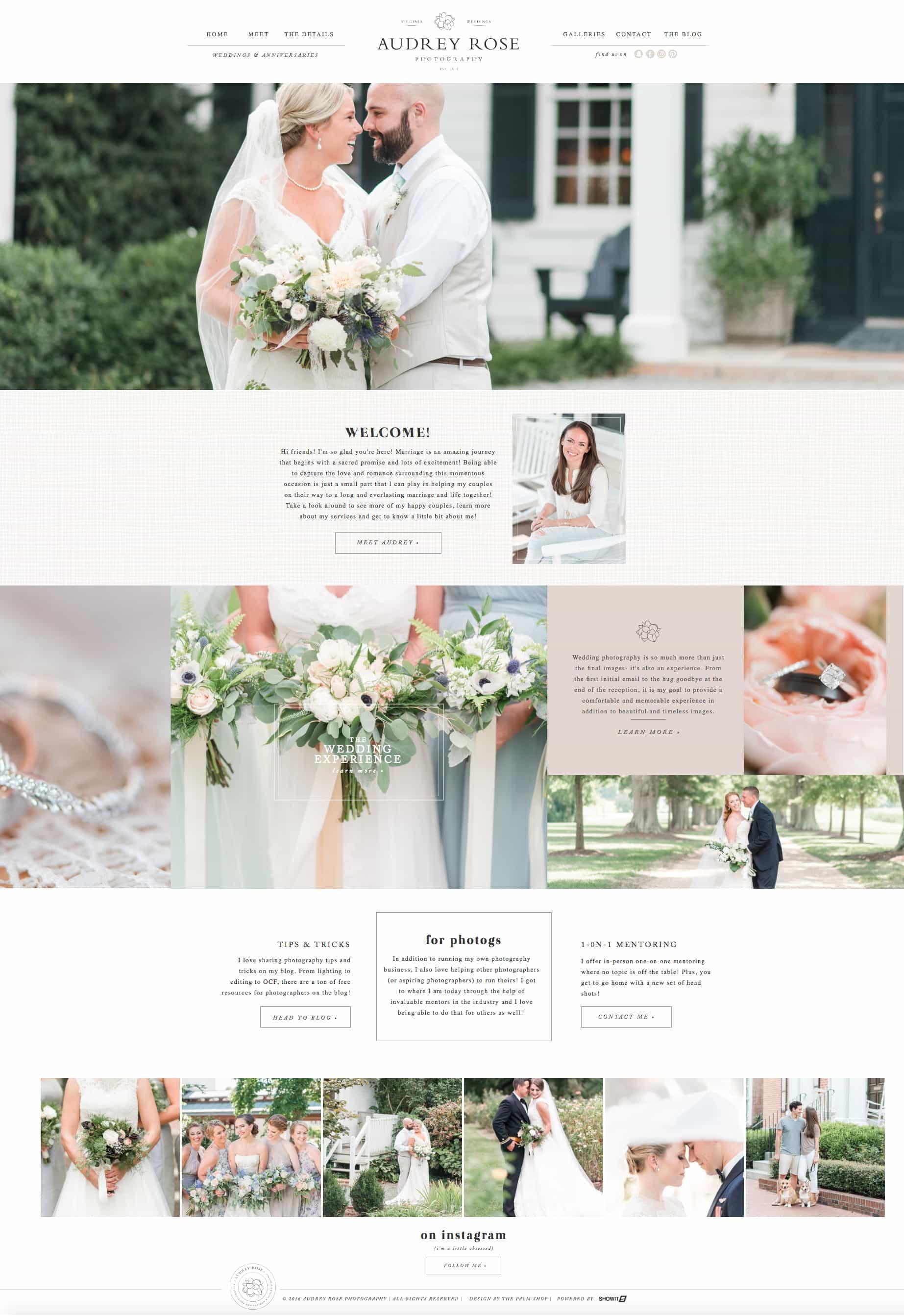 Customizable ShowIt5 WordPress website design & branding design for photographer Audrey Rose | Davey and Krista