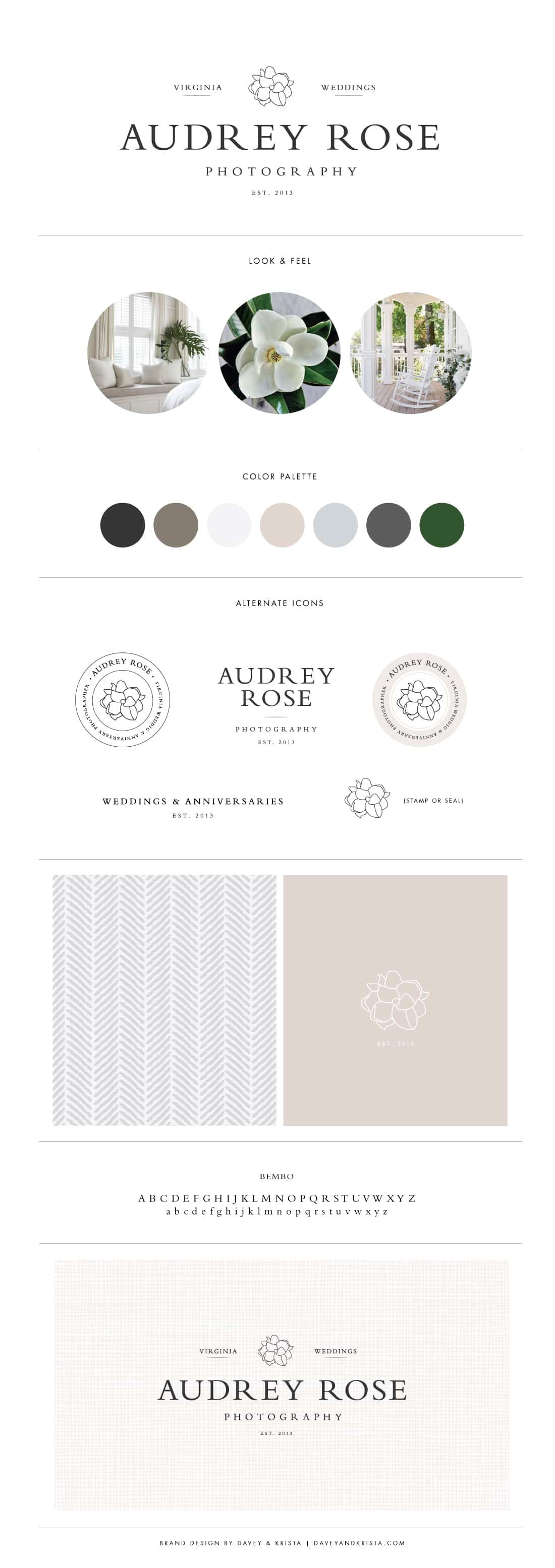 Southern inspired brand design for wedding photographer Audrey Rose | Davey & Krista