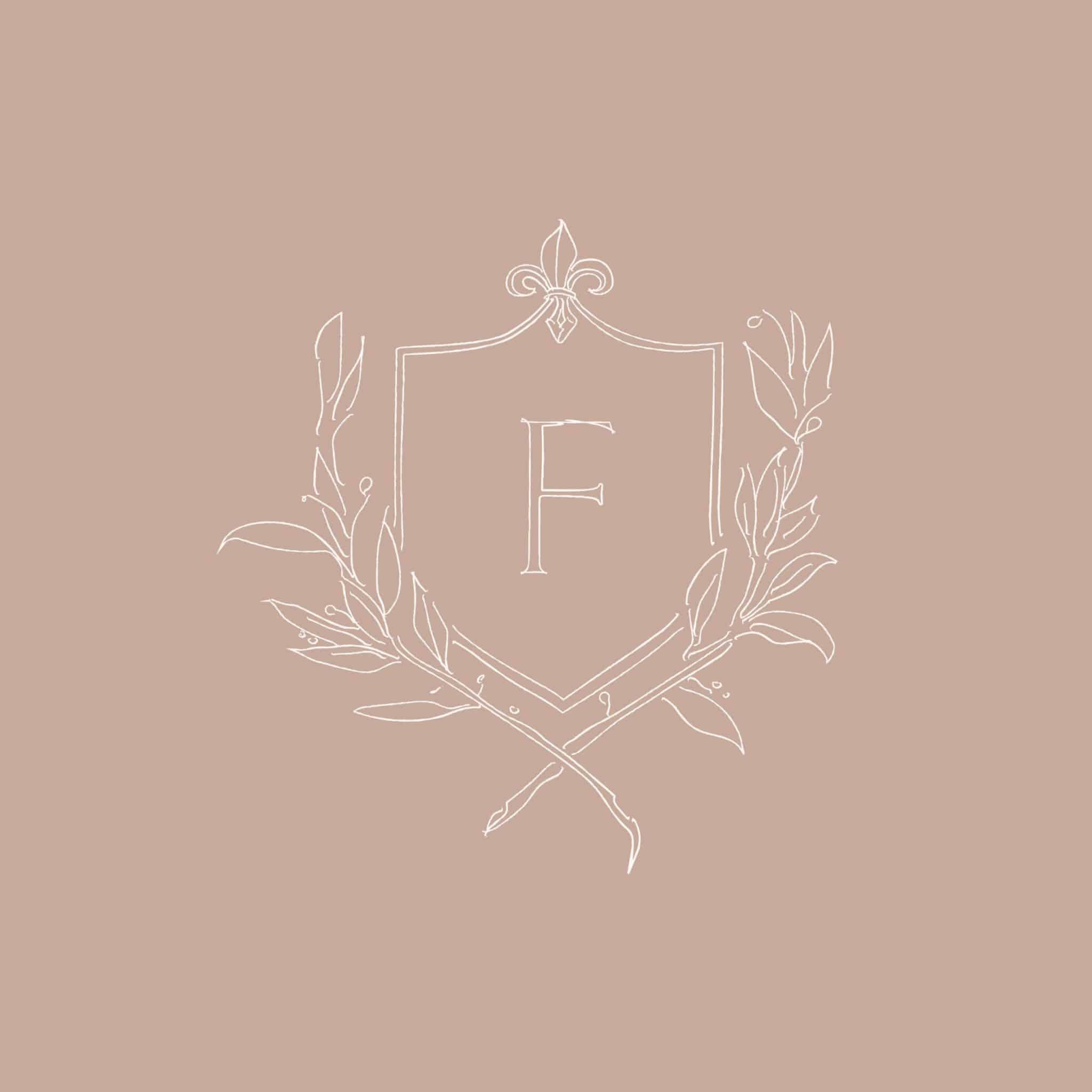 Elegant crest logo with an initial   Davey & Krista