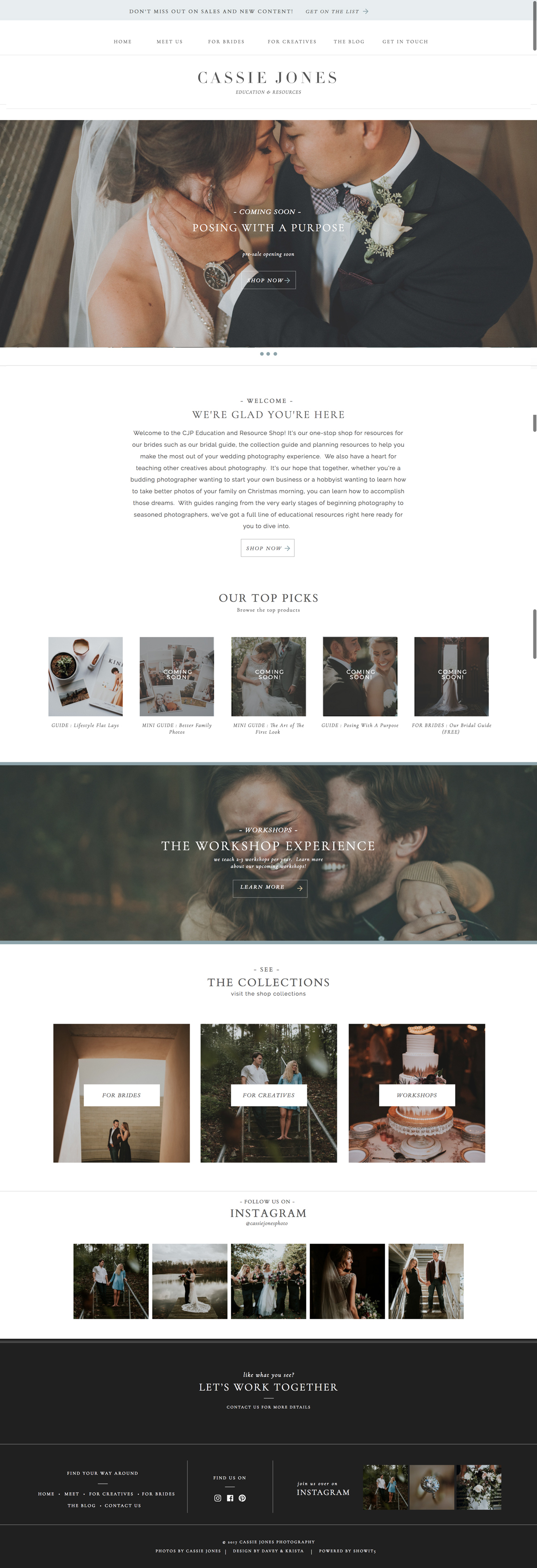 Classic, minimalist, website template for photographer Cassie Jones | Davey & Krista
