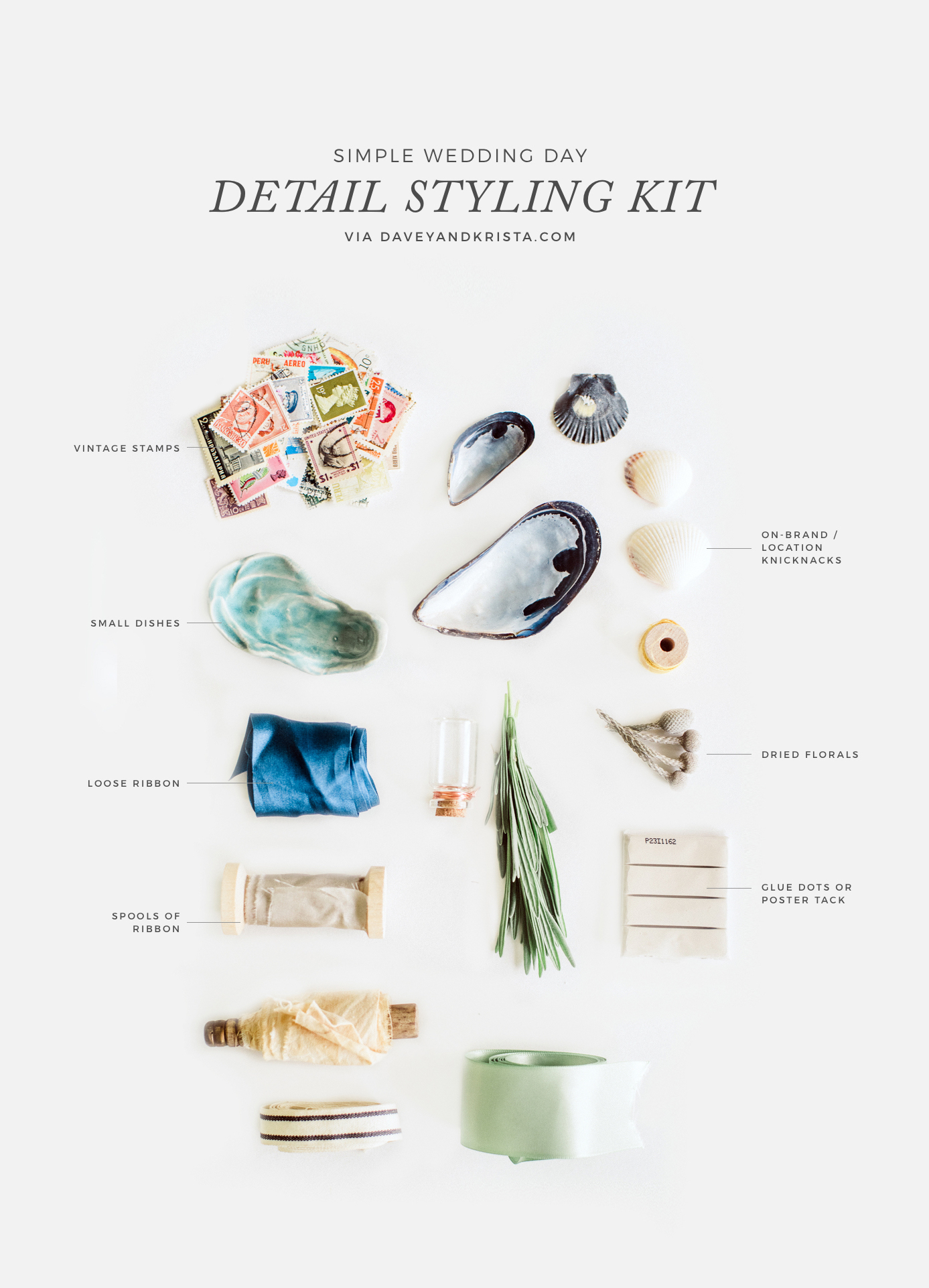 The anatomy of a wedding day styling kit for photographers | Davey & Krista