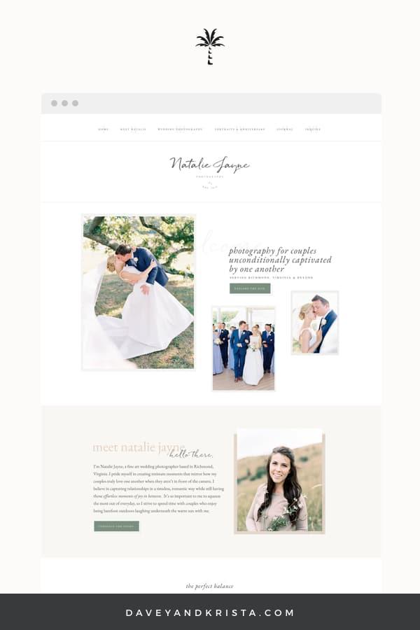 Custom Anthropologie inspired wedding photographer website built on Showit   Davey & Krista