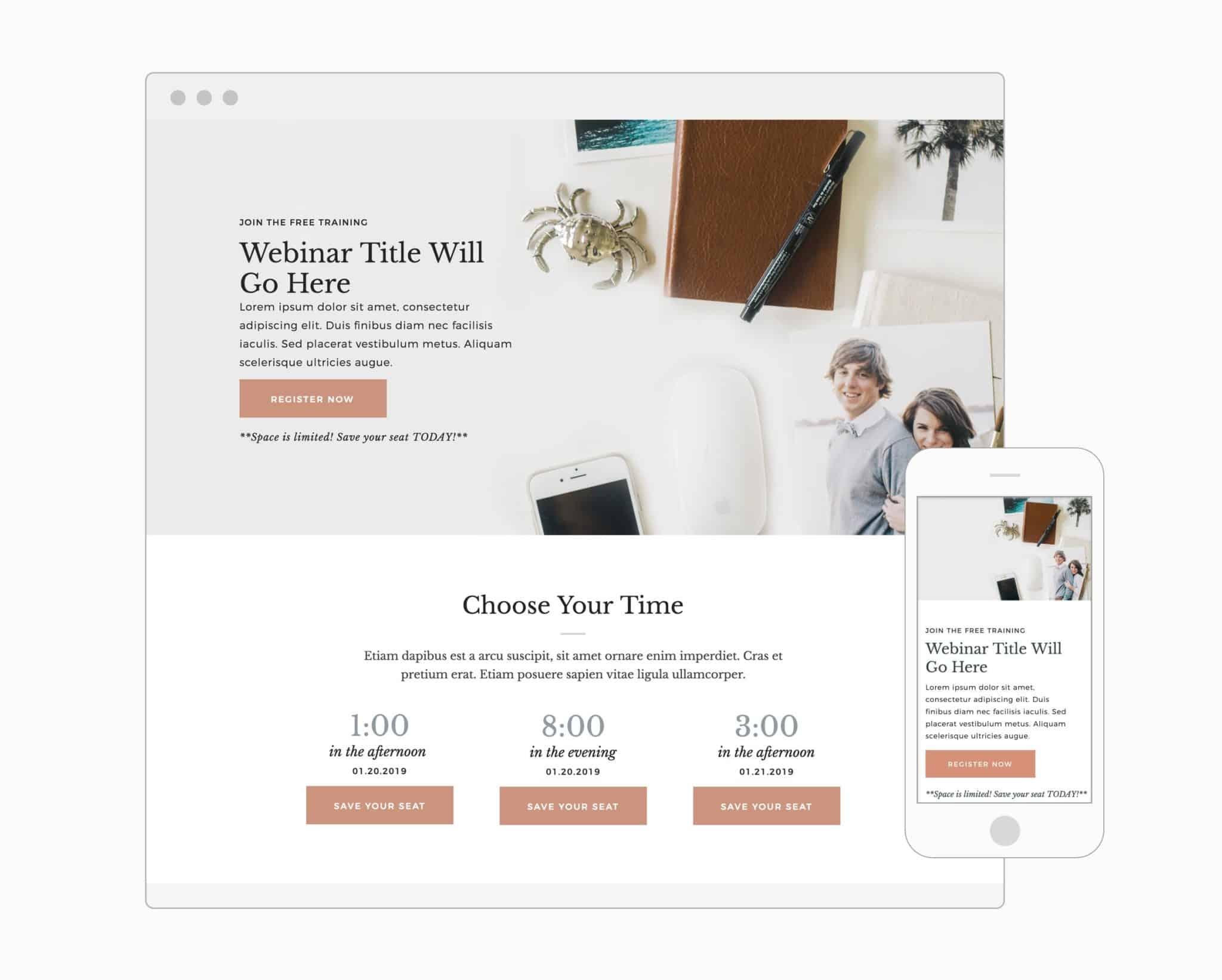 Webinar Registration Page (Showit)