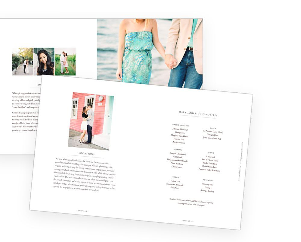 Digital PDF engagement session guide for clients from Davey & Krista