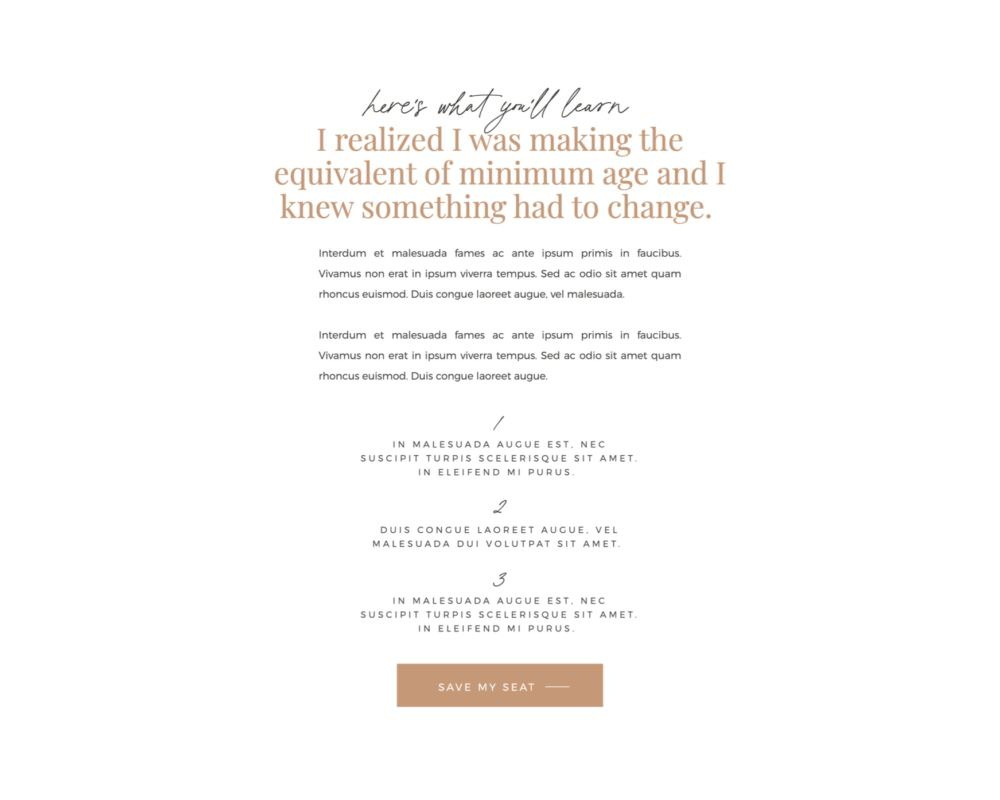 Webinar registration page landing page template for Showit | Davey & Krista