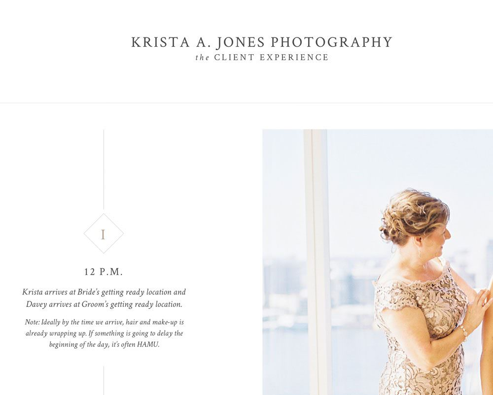 Online timeline template for photographers (Showit) via Davey & Krista