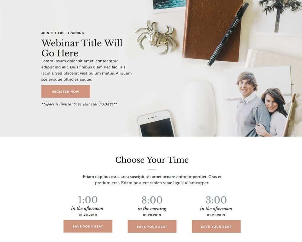 Webinar registration landing page for Showit | Davey & Krista