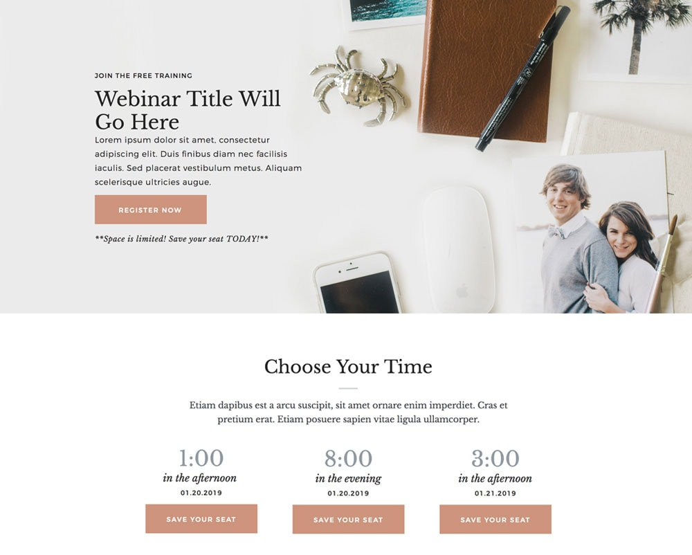 Webinar Registration Page (Showit)