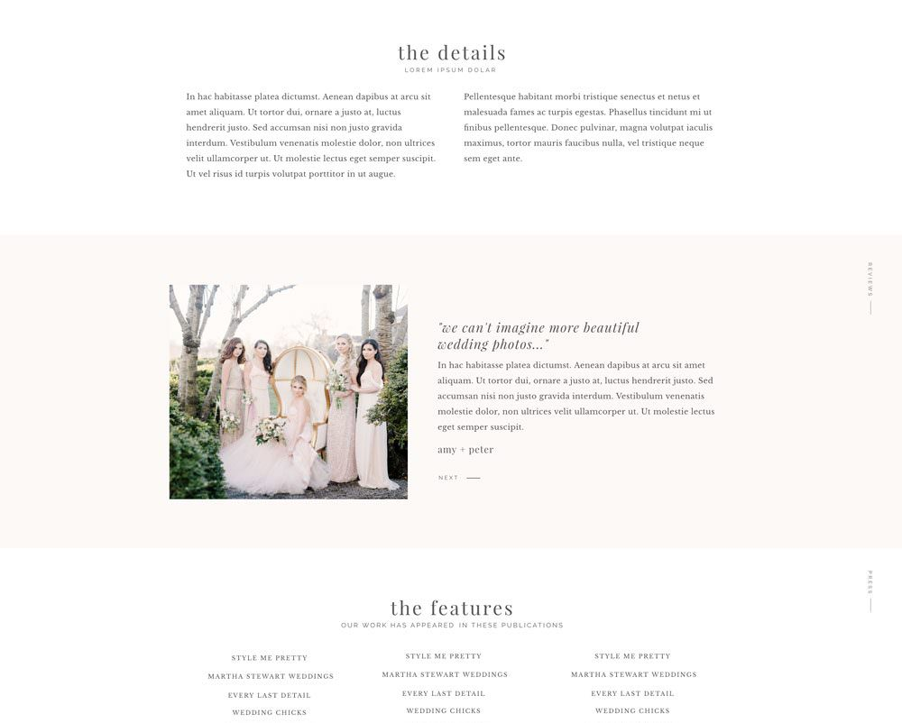 Easy to update Showit templates for wedding photographers & creatives via Davey & Krista