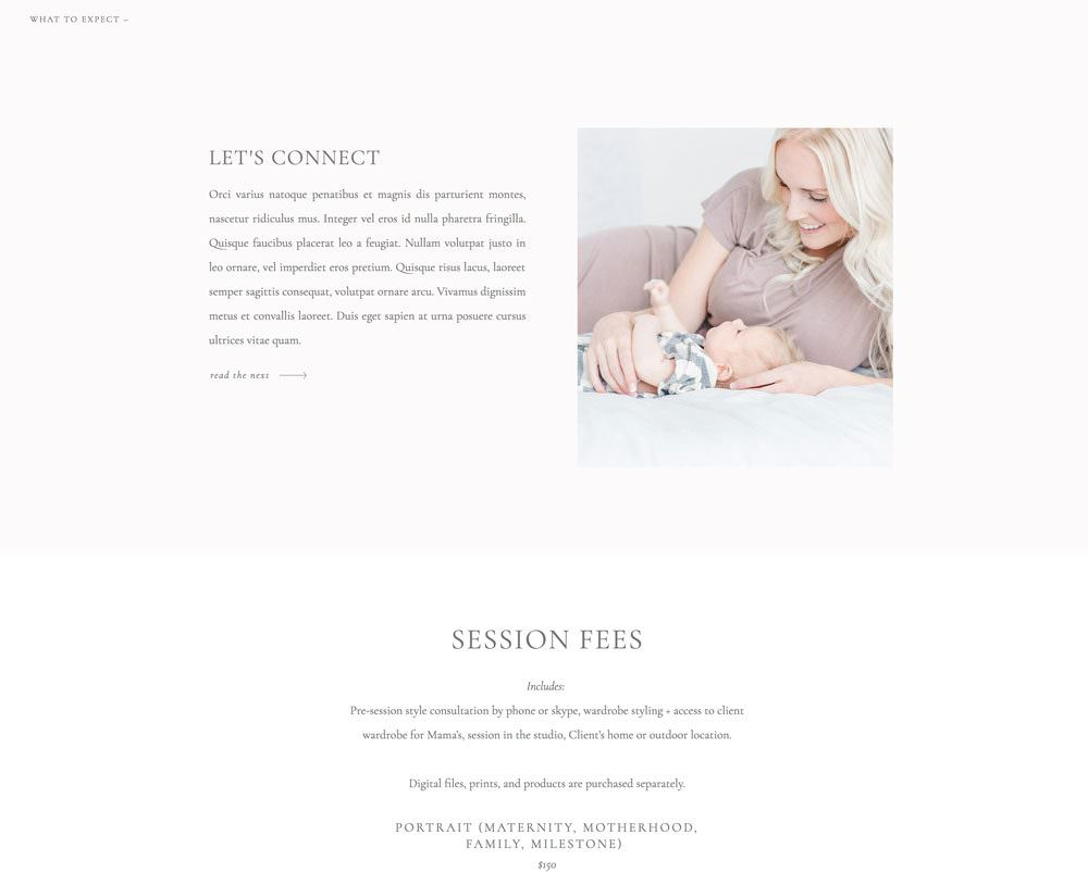 Elegant digital pricing page template for wedding & portrait photographers by Davey & Krista (Showit Version)