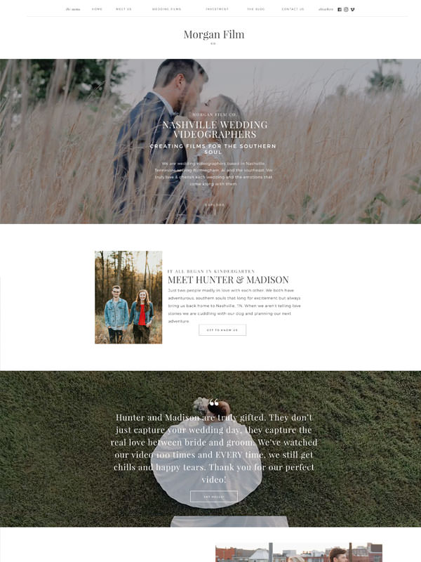 Showit website templates for videographers | Davey & Krista