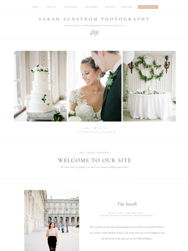 Classic and elegant website template design for photographers and creatives | Davey & Krista