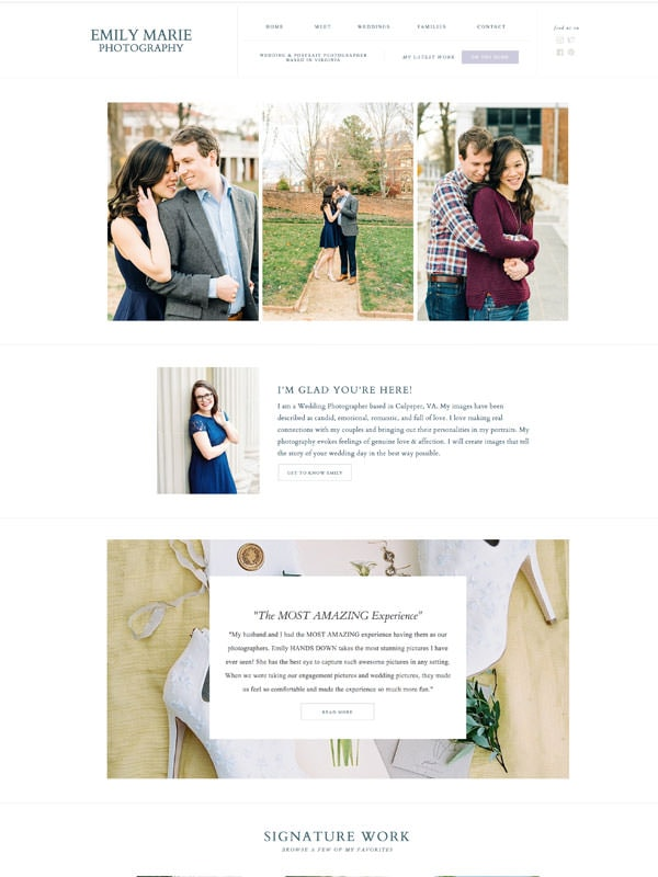 Modern website template designs for photographers on Showit | Davey & Krista