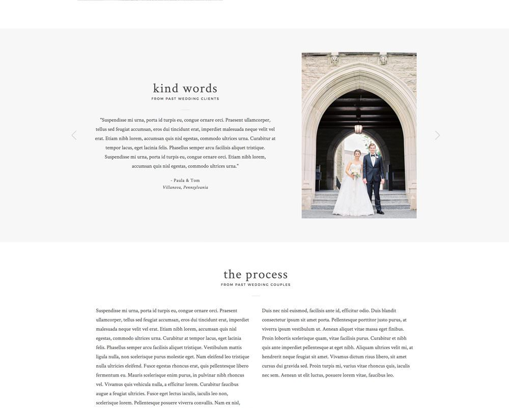 Beautiful pricing page and collection guide design for Showit | Davey & Krista