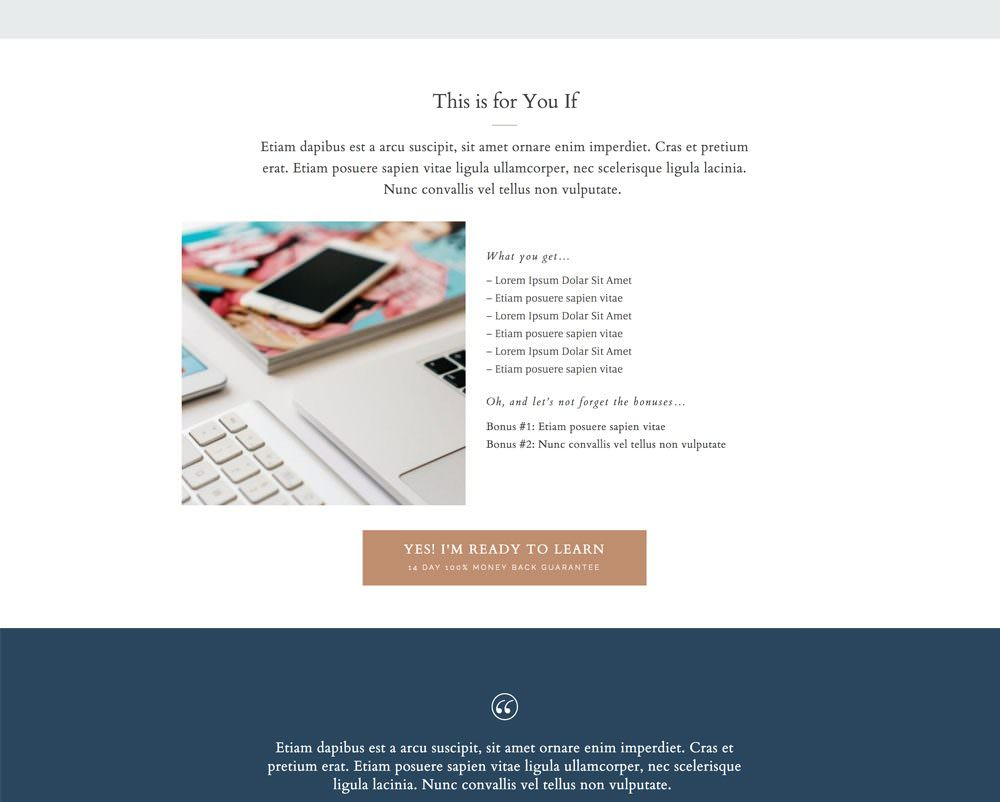 Course or product sales page for WordPress   Davey & Krista