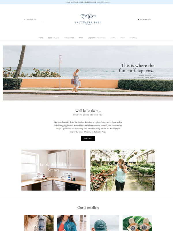 Classic shop template design for WordPress & WooCommerce by Davey & Krista