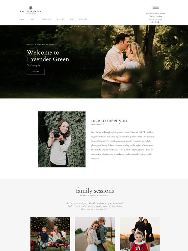 Clean and classic website templates for wedding professionals | Davey & Krista