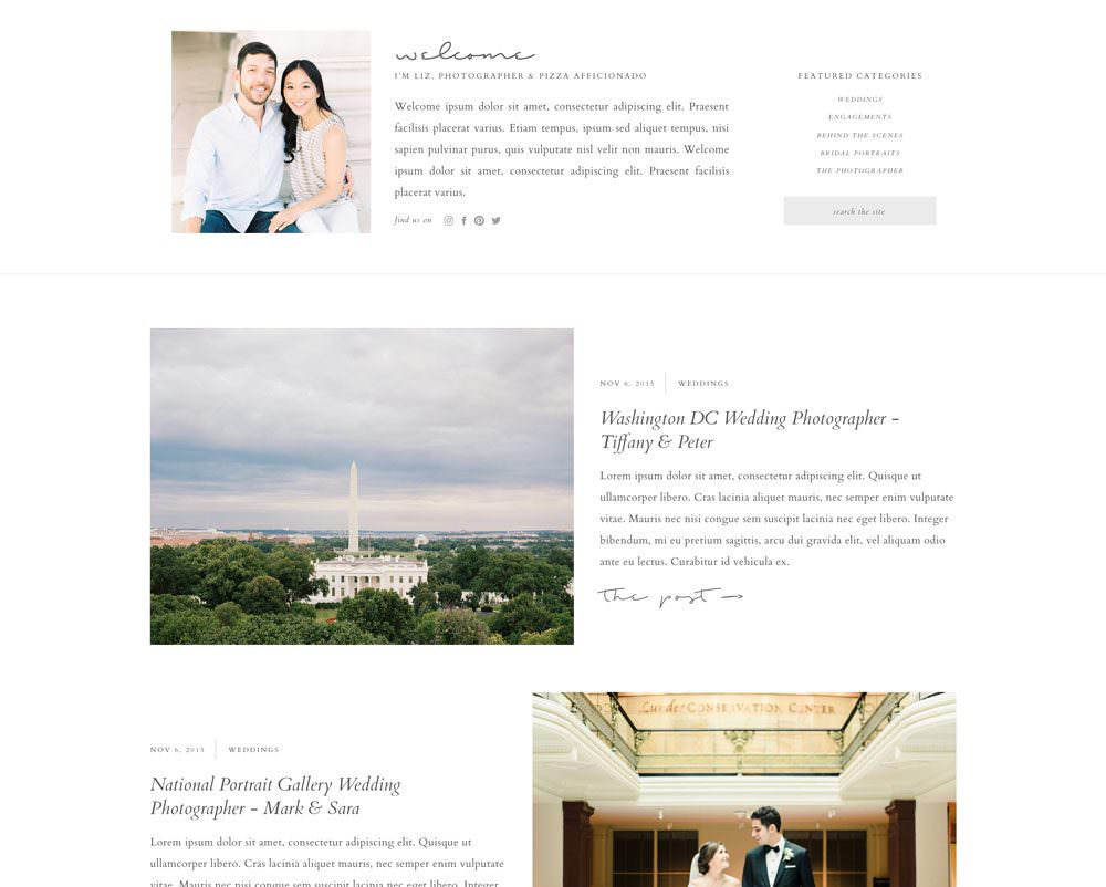 A clean and simple one page website template for creatives and photographers | Davey & Krista
