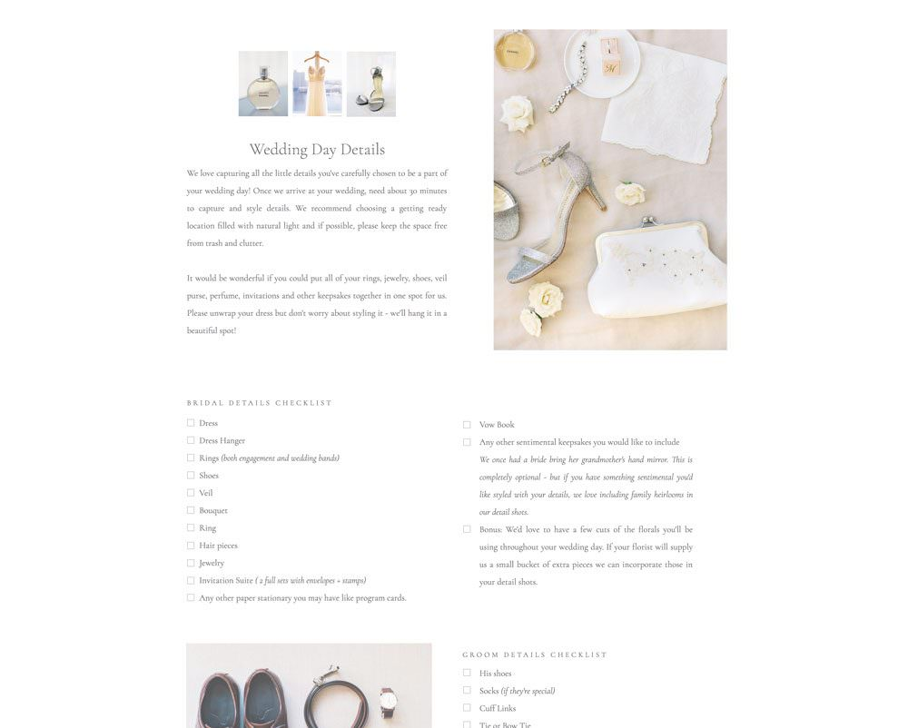 Wedding Guide page for photographers (Showit) by Davey & Krista