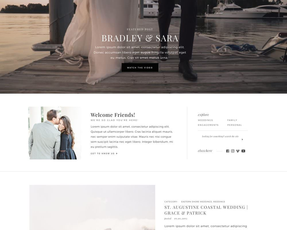 Clean and classic WordPress + Elementor drag and drop website theme / template for videographers | Davey & Krista