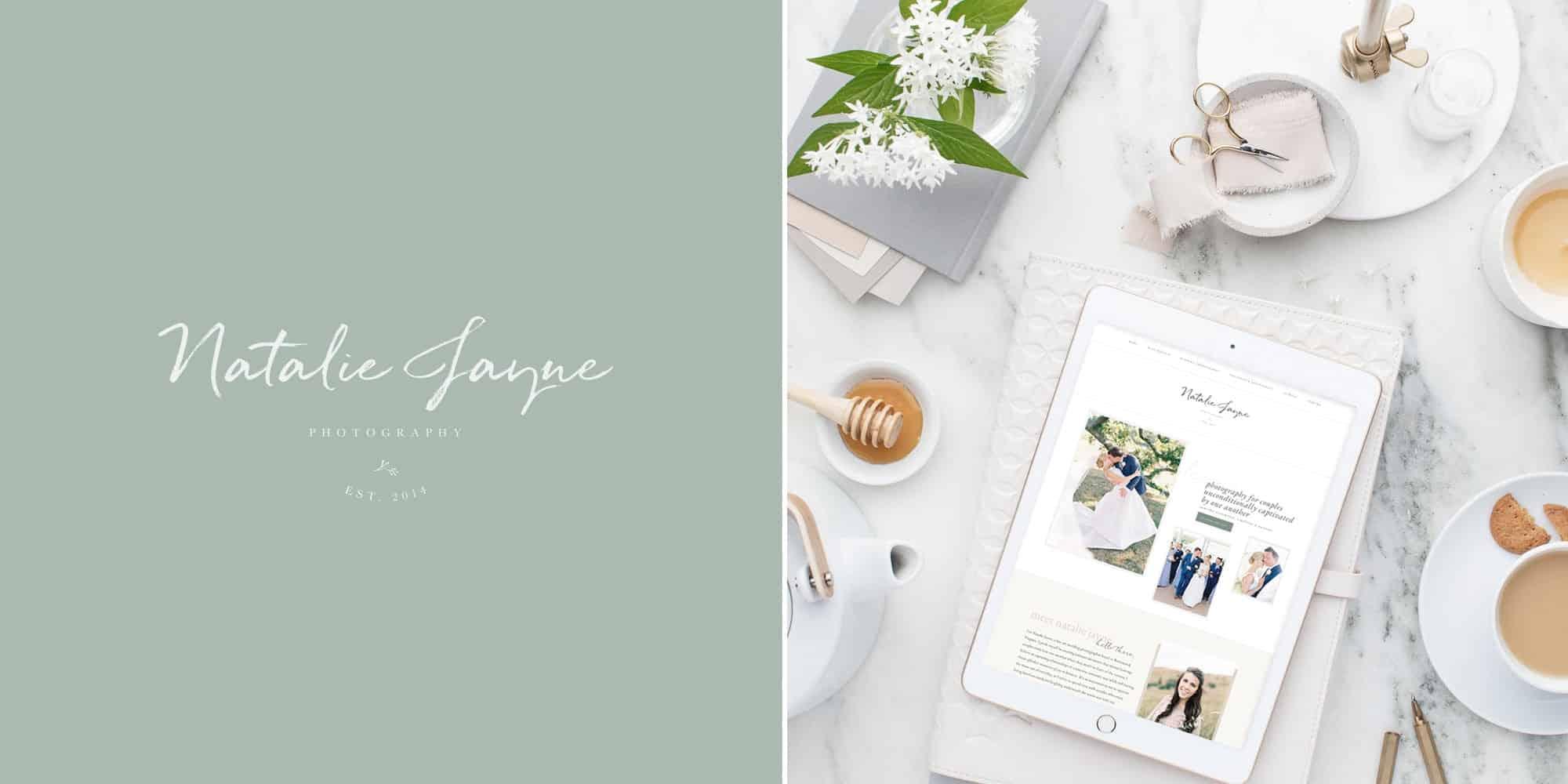 Custom Anthropologie inspired brand design for wedding photographer Natalie Jayne by Davey & Krista