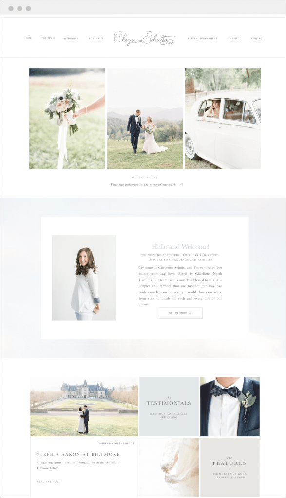 Elegant, minimal website design for photographer Cheyenne Schultz on Showit by Davey & Krista