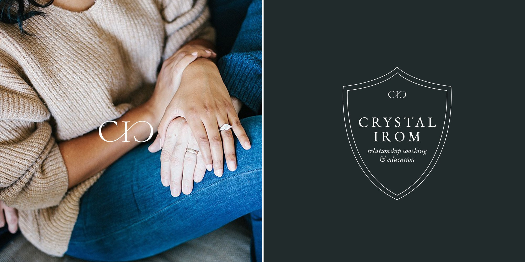 Custom crest brand and logo design for Crystal Irom by Davey & Krista