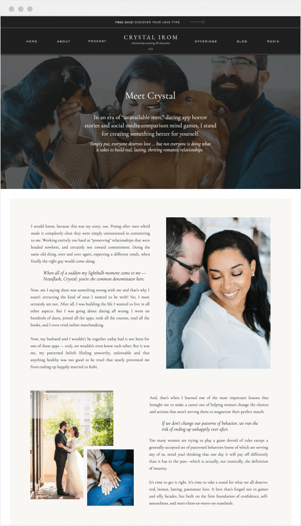 Educator and digital marketing website design for Showit by Davey & Krista