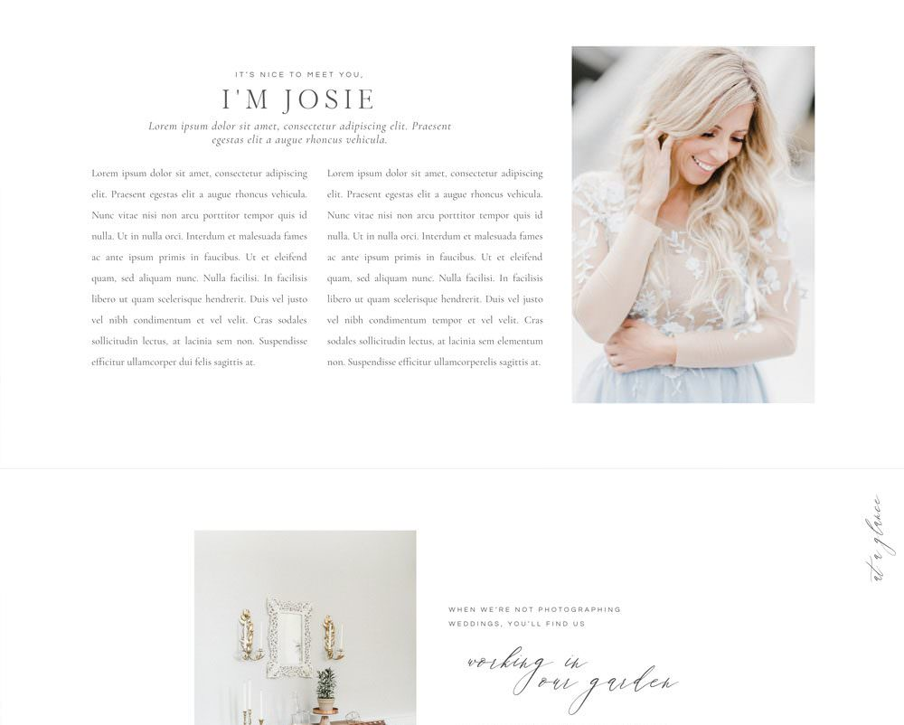 Elegant and editorial, Kiawah Island has everything you need to turn site visitors into clients with a built-in logotype, beautifully styled galleries, a newsletter sign up and more! Via The Palm Shop by Davey & Krista
