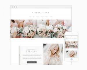 Elegant and editorial, Kiawah Island has everything you need to turn site visitors into clients with a built-in logotype, beautifully styled galleries, a newsletter sign up and more! Via Davey & Krista