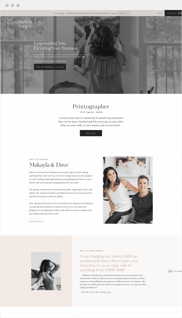 Printographer's Society custom brand and website design by Davey & Krista