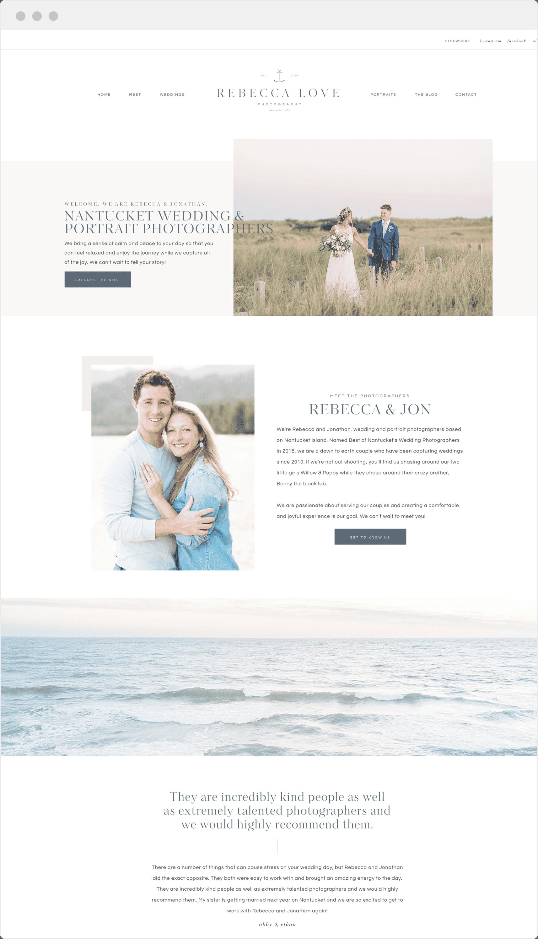 Custom Showit website design for photographer Rebecca Love