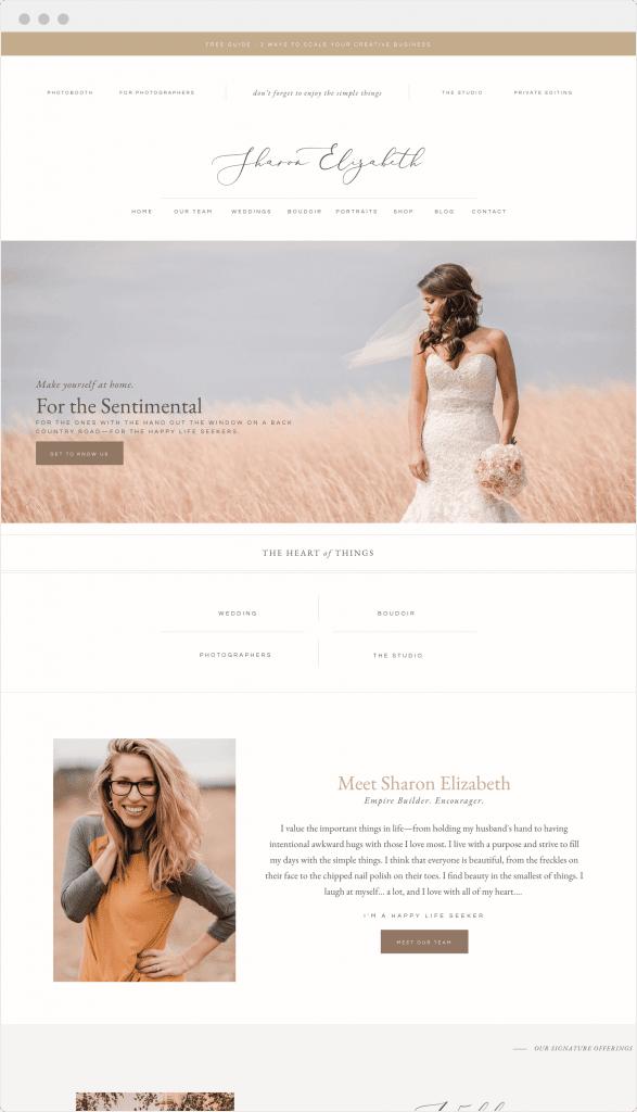 Custom Showit website design for photographer Sharon Hundley by Davey & Krista