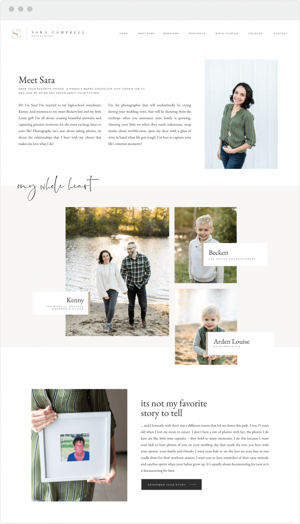 Custom website and brand design for photographer Sara Campbell by Davey & Krista