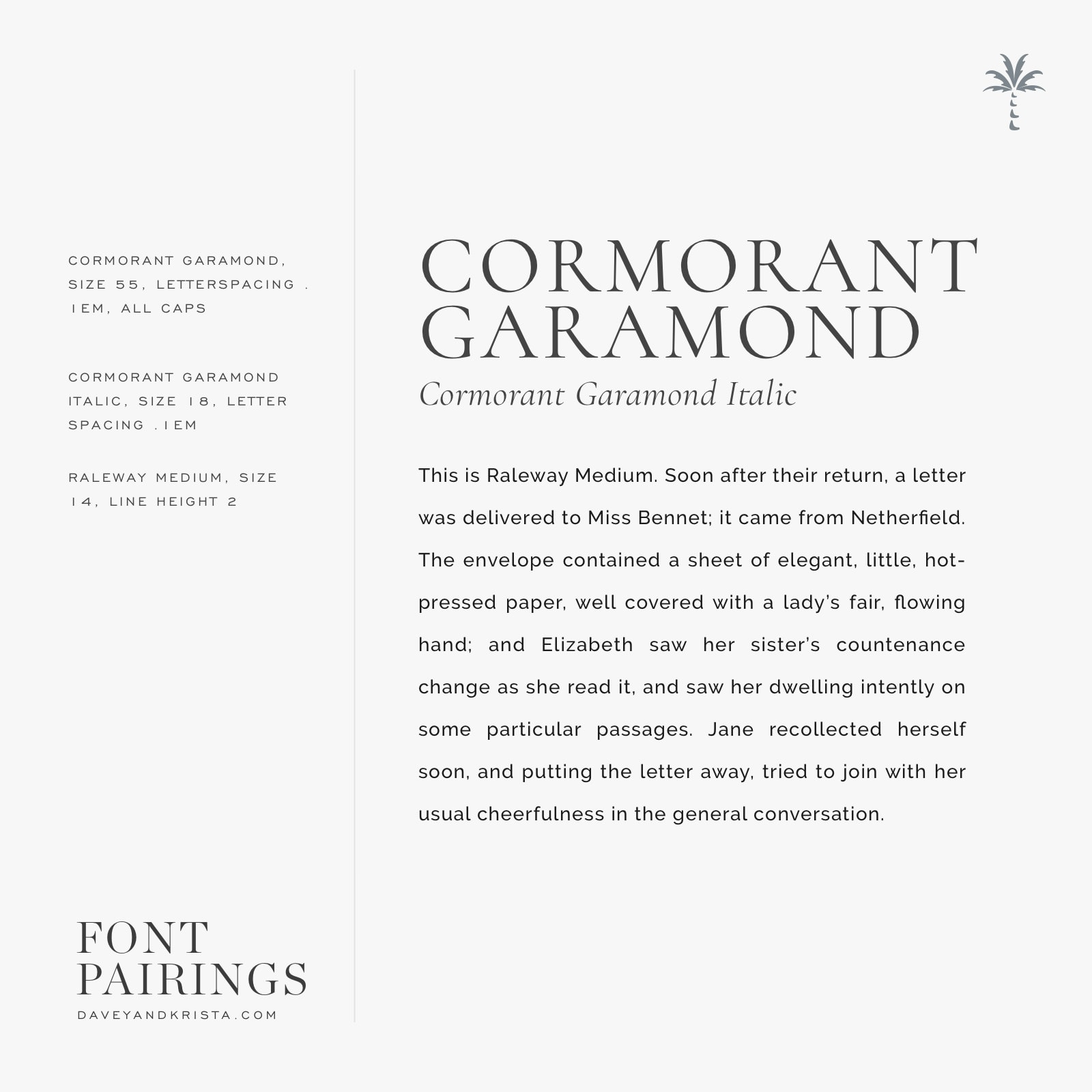 Webfont Font Pairings: Cormorant Garamond + Raleway   Davey & Krista