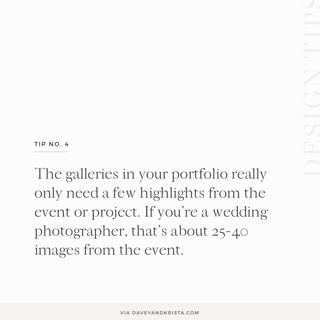 Curate the galleries in your portfolio to only showcase your best images - normally 25-40 images if you're a wedding photographer | Davey & Krista