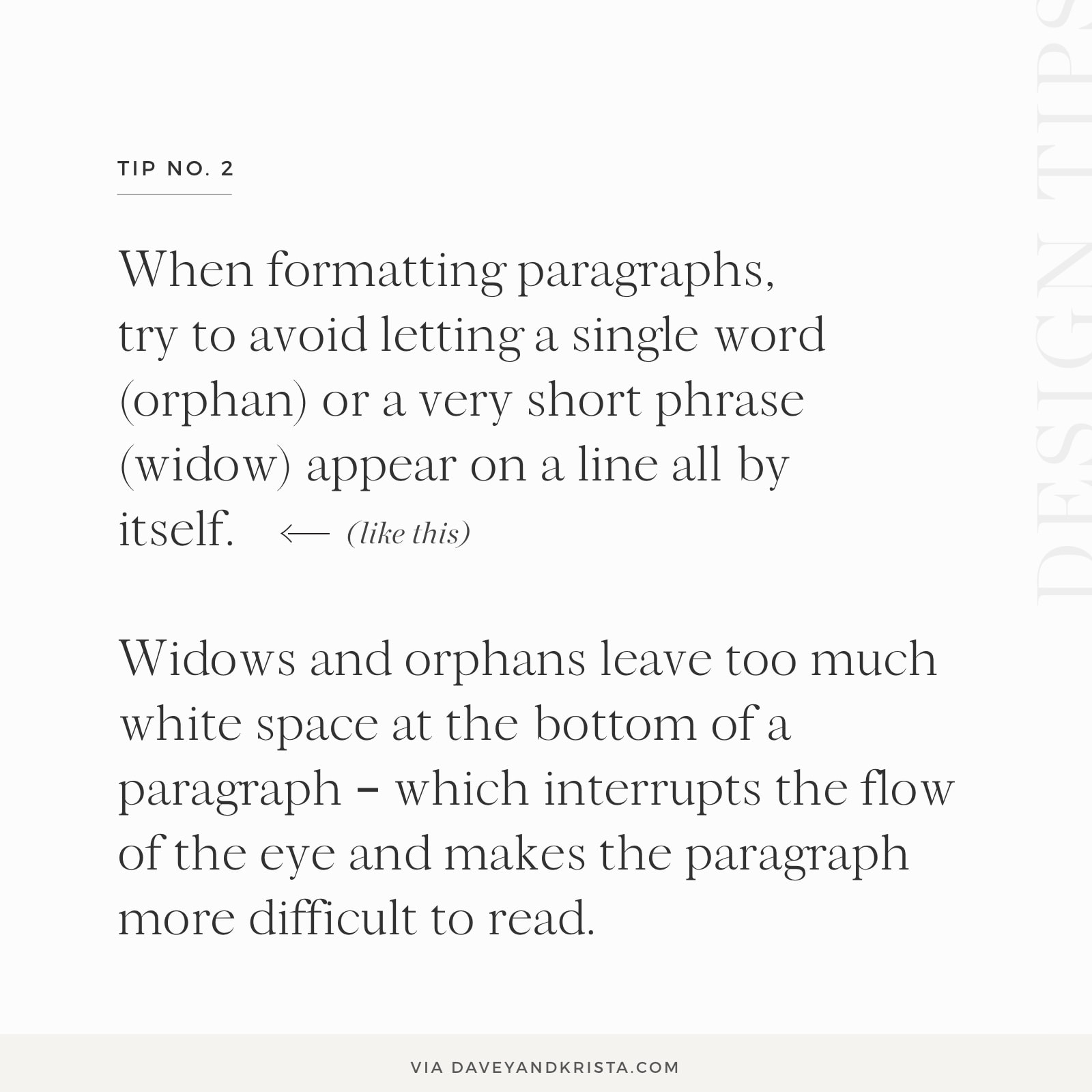Graphic design tip: Improve your typography by controlling widows & orphans | Davey & Krista