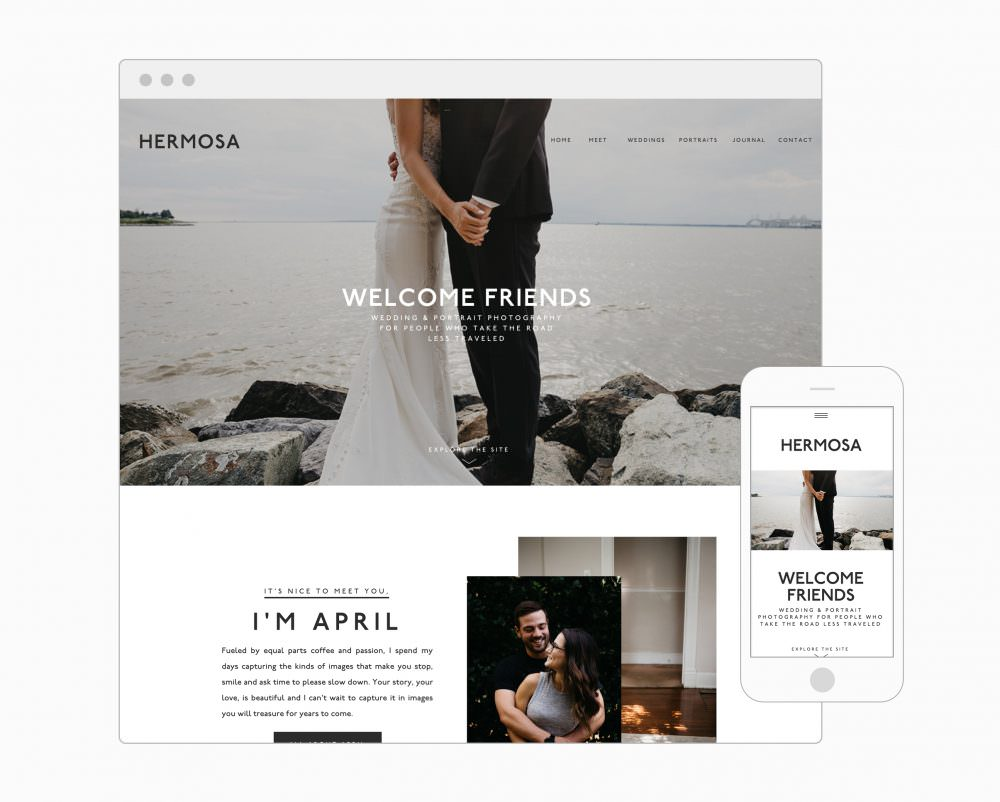 Modern, minimal and perfect for the creative who takes classic with a twist. Bold headlines, large images, lead magnet ready and more! Hermosa Beach - a Showit template for photograpers by Davey & Krista