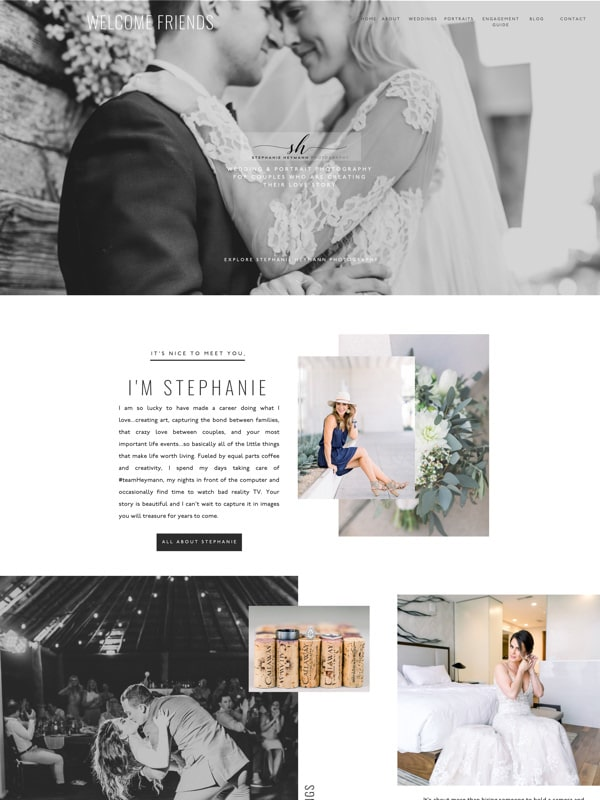 Modern website templates for wedding & portrait photographers | Davey & Krista