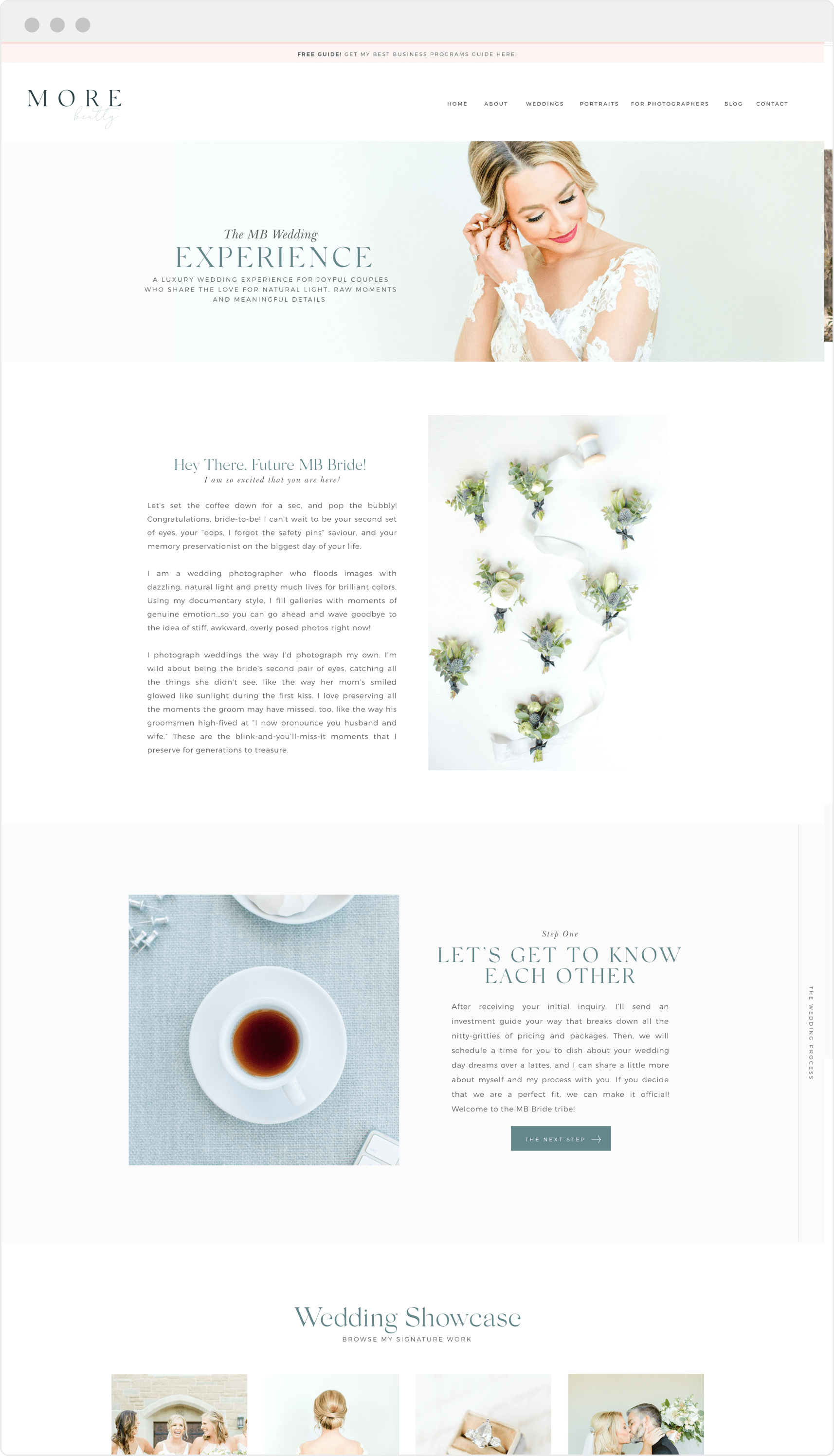 Upscale Showit website design for wedding photographer and educator More Beatty | Davey and Krista