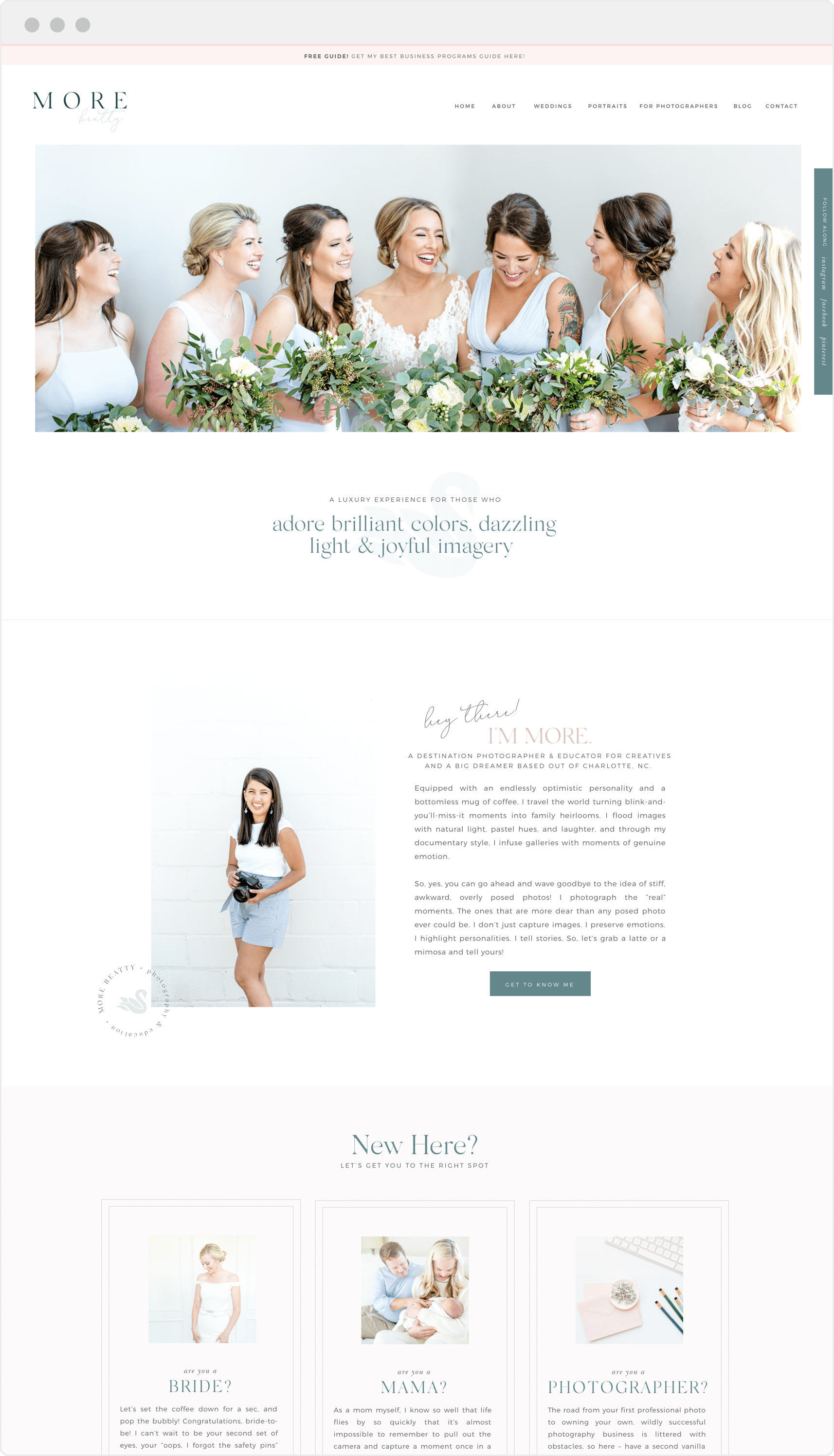 Classic pink and teal website design for wedding photographer and educator More Beatty | Davey and Krista