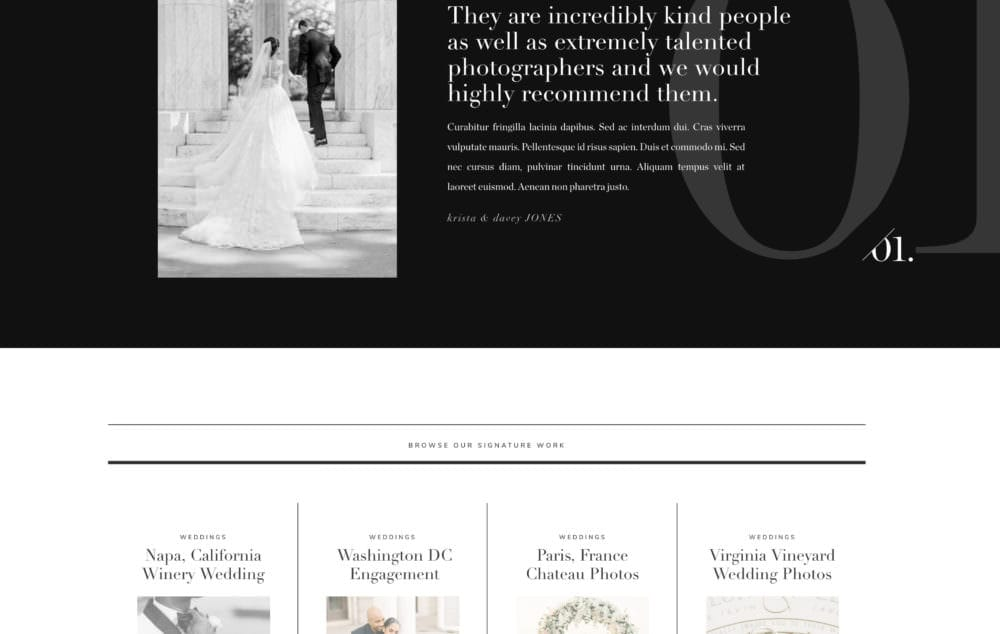 Editorial inspired website template for photographers (Showit) | Davey and Krista
