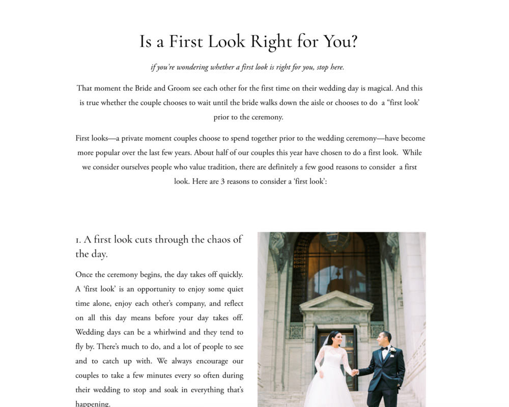 Ditial Wedding Photography client guide for Squarespace   Davey & Krista
