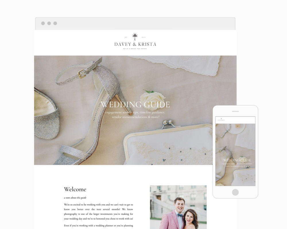 Ditial Wedding Photography client guide for Squarespace | Davey & Krista