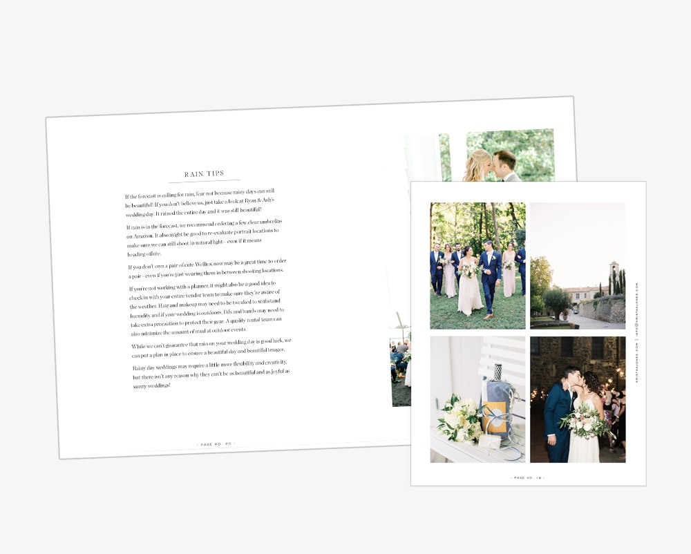 PDF Wedding & Bridal Guide for Photographers | Davey & Krista