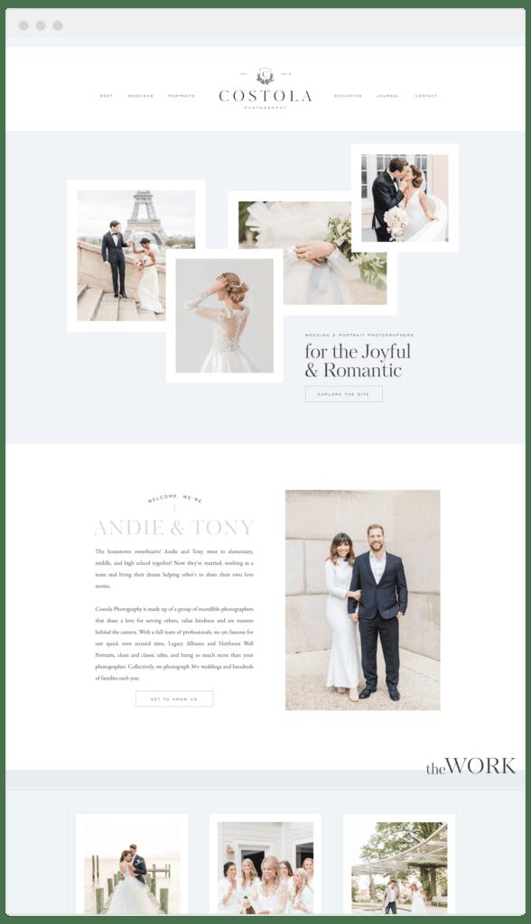 Custom Showit Website Design for Wedding photographers - Davey & Krista