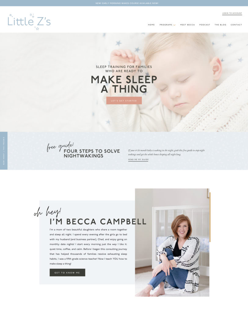 Custom website design & branding for sleep coach Little Z Sleep | Davey & Krista