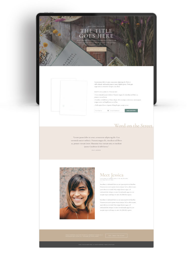 Lead Magnet landing page by Davey & Krista for Showit