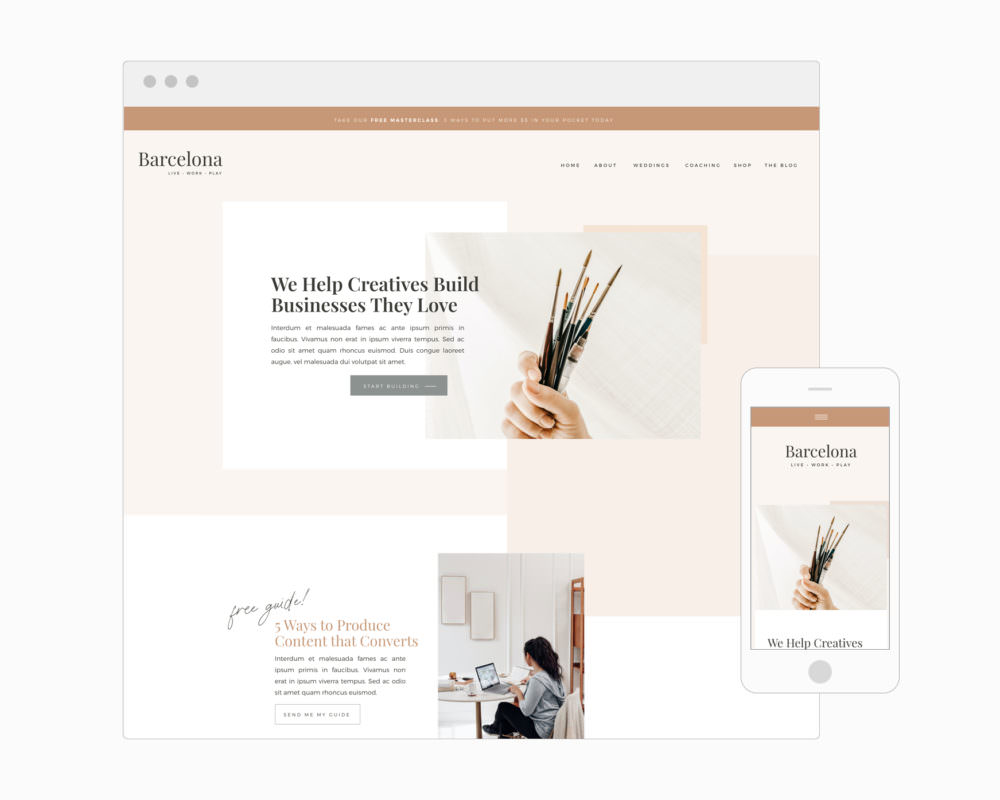 Educator and content marketer website template for Showit   Davey & Krista